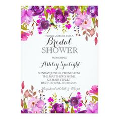 Purple lavender Shower Floral Invitation