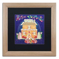 "Trademark Art 'Xmas Gingerbread House' Framed Graphic Art Print Mat Color: Black, Size: 16"" H x 16"" W x 0.5"" D"