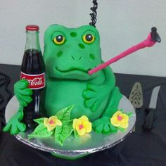 2010 Animal Cakes Contest - A cake for a friend that loves Coca Cola and Frogs.  This is how I put the two together.