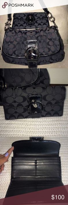 Coach Purse with matching wallet No stains or flaws, the purse I use couple time and it's spacious. the wallet never been use Coach Bags Shoulder Bags