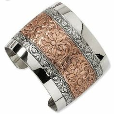 1928 Rose-tone and Silver-tone Floral Cuff Bracelet 1928 Boutique. $33.88