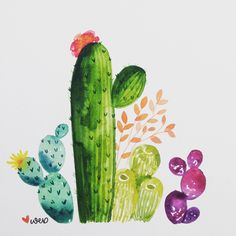 Watercolor cactus - hand painted - desert - succulents - wall art - gallery wall - watercolor - cacti - saguaro - prickly pear by whitneydaynesdesigns on Etsy Cactus Painting, Watercolor Cactus, Watercolor Paintings, Coral Watercolor, Succulent Wall Art, Succulent Planters, Succulents Garden, Unique Paintings, Contemporary Abstract Art