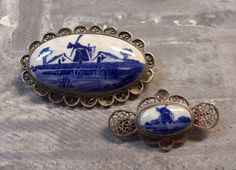 VINTAGE Delfts Pins Broochs Silver Filigree Hand Painted BLUE White Two (2) Windmill Dutch Blue White Delfts Vintage Jewelry Destash (M184). $42.50, via Etsy.