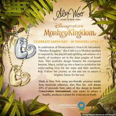 """Inspired by #Disneynature 's newest True-Life Adventure, """"Monkey Kingdom,"""" Alex designed the Little Love Monkey, who is curled up into a heart to symbolize the film's heroine, Maya, and her love for her mate and their newborn, Kip. Celebrate and give back with us as 20% of proceeds from sales will benefit #ConservationInternational, who works to ensure a healthy planet for us all. #alexwoo #monkey #littleicons"""