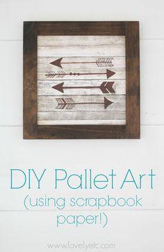 DIY Pallet sign Ideas - DIY Wood Arrow Sign Using Scrapbook Paper - Upcycled Pallet Art Cool Homemade Wall Art Ideas and Pallet… Pallet Crafts, Pallet Art, Diy Pallet Projects, Pallet Signs, Wood Projects, Wood Crafts, Craft Projects, Pallet Ideas, Pallet Wood