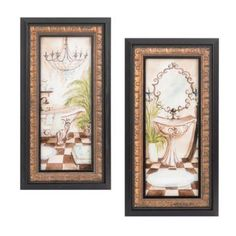 Azul Bath Framed Art Print, Set of 2
