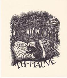exlibris Thijs Mauve, woodengraving