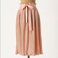 Gorgeous pleated midi skirt from Anthropologie Hunter Dixon pink pleated midi skirt with tie sash Anthropologie Skirts Midi
