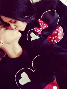 Matching mickey and minnie mouse sweaters ^^ for couples<3