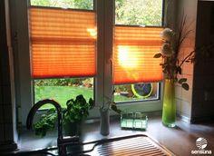 sensuna® Plissee in orange - ein Kundenbild / sensuna® pleated blind in orange - a customer photo