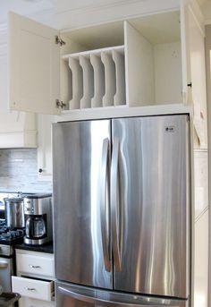DIY - Kitchen organization -Above the fridge tray divider