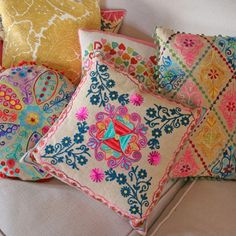 Berry Red - Crewelwork Folk Cushion