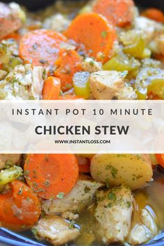 Instant Pot 10 Minute Chicken Stew - Instant Loss - Conveniently Cook Your Way T. - Instant Pot 10 Minute Chicken Stew – Instant Loss – Conveniently Cook Your Way To Weight Loss - Slow Cooker, Pressure Cooker Recipes, Pressure Cooker Chicken Stew, Pressure Cooking, Stew Chicken Recipe, Chicken Recipes, Turkey Recipes, Easy One Pot Meals, Vegetarian Cooking