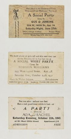 Rent parties: Langston Hughes' collection of rent party cards (PHOTO). 1940s Party, Rent Party, Winning Quotes, Langston Hughes, In Harm's Way, Great Works Of Art, Cotton Club, Harlem Renaissance, Social Activities