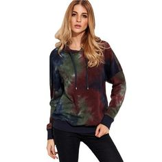 Multicolor Tie Dye Print Drop Shoulder Long Sleeve Vintage Sweatshirt