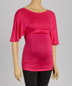 Loving this Hot Pink Maternity Dolman Top on #zulily! #zulilyfinds