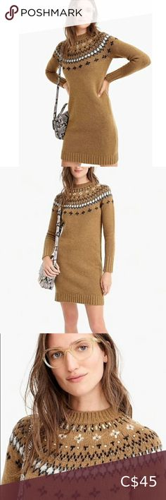 J. CREW Fair Isle crewneck sweater dress w. jewels • Beautiful knit sweater dress in excellent previously loved condition. • No jewels missing. • Size XS. • Please see pictures for more details :) *Please note that measurements are approximate and are taken with garment laid flat. The dress does stretch, since it is a knit :) ❣️BUNDLES (2+items) ONLY PAY ONE SHIPPING FEE J. Crew Dresses