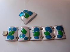 Kay Denning Modernist Enamel Fused Glass Bracelet Brooch Set Vintage White Blue | eBay