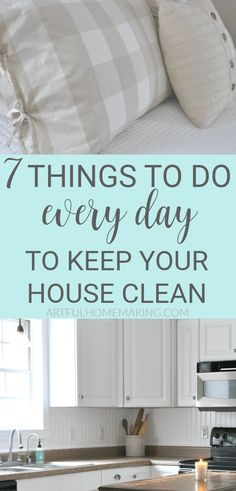7 Things to Do Every Day to Keep Your House Clean. Simple house cleaning tips to keep your house cleaner and more organized! Deep Cleaning Tips, House Cleaning Tips, Diy Cleaning Products, Spring Cleaning, Cleaning Schedules, Life Hacks, Bathroom Cleaning Hacks, Cleaning Diy, Laundry Hacks