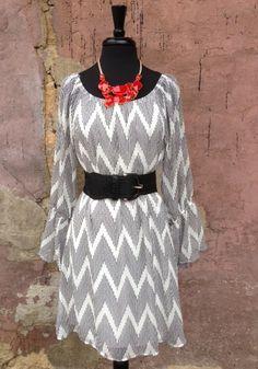 Dot Chevron Dress $64