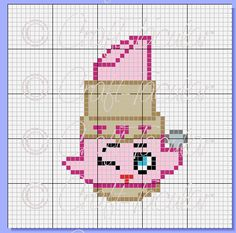Lippy Lips Shopkins Graphgan Graph Pattern Cross by CraftTacular Beading Patterns, Embroidery Patterns, Cross Stitch Patterns, Crochet Shopkins Patterns, Shopkins Blanket, Stitch Cartoon, Cross Stitch For Kids, Beaded Cross Stitch, Kawaii