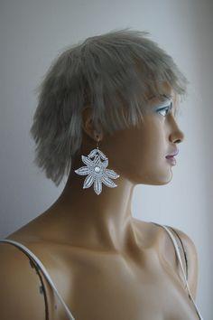 EARRINGS // Floral Earrings/ Dangle Earrings/ Lace by ilkcanArt