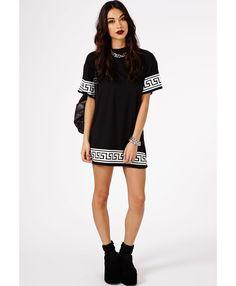 Kikita Greek Key Print Oversized T-Shirt Dress In Black - Dresses - Mini Dresses - Missguided