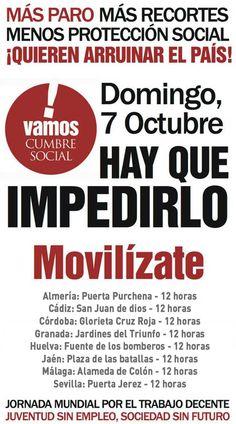 MÁS PARO MÁS RECORTES  MENOS PROTECCIÓN SOCIAL.  7 de octubre