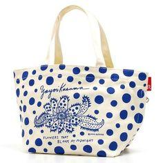 New! Yayoi Kusama Dots Tote Bag Midnight Flowers Blue x White Japan Art Pumpkin