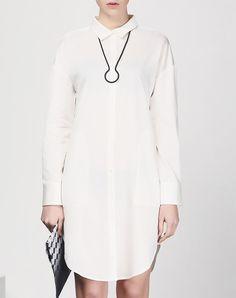 #AdoreWe #VIPme Shirt Dresses - SAINTY White Plain Shirt Dress With Pockets - AdoreWe.com