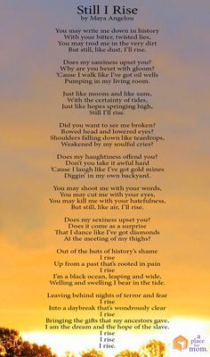 Poem: Still I Rise by Maya Angelou