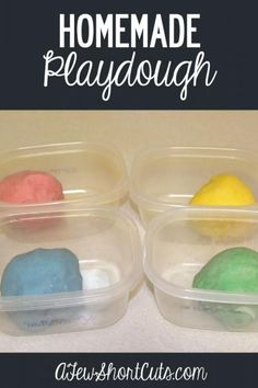 A great rainy day activity, homemade gift, or fun homeschool project. Check out this easy Homemade Playdough recipe