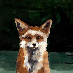 fox portrait from acrylic painting. SMUG FOX . giclee animal art print. $45.00, via Etsy.