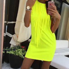 Sexy Women Dress Tassel Fluorescent Color Summer Dress Sleeveless Slim Fit Mini Dress Lady Vestidos