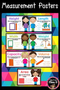 These Measurement Posters explain when to use key measurement vocabulary and provide an example of how to measure using informal units. Included; 1) Height 2) Length 3) Width 4) Weight 5) Capacity 6) Volume 7) Area 8) Distance © Tales From Miss D