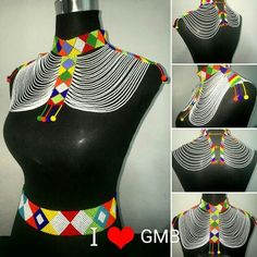 African Necklace, Tribal Necklace, African Jewelry, African Traditional Wear, Xhosa, African Accessories, Beaded Necklace Patterns, Beaded Collar, African Culture