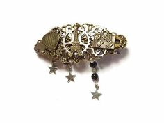 Barrette steampunk ballon voyage paris valise engrenage