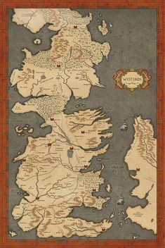 Game of Thrones Map Vintage Style Map Fan Art by ConsiderGraphics
