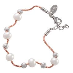 Sterling Silver Rose Pearl Bracelet Style: BR636ROSE