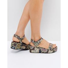 ASOS TOUCAN Wedge Sandals ($33) ❤ liked on Polyvore featuring shoes, sandals, multi, mid heel wedge sandals, medium wedge sandals, floral wedge shoes, open toe sandals and asos sandals