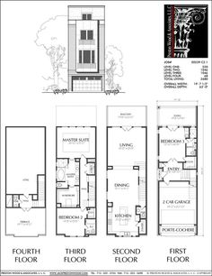 Narrow House Designs, Narrow Lot House Plans, Best House Plans, Dream House Plans, Town House Floor Plan, House Roof, House Front Design, Small House Design, 20x40 House Plans