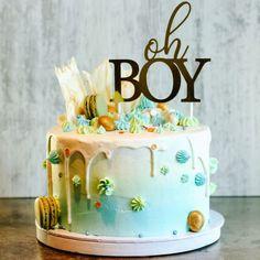 """Mine matminner on Instagram: """"Kake i blå, grønn og gull til babyshower. Mørk sjokoladekake med salt karamellmousse dekket med vaniljesmørkrem.   #babyshowercake…"""" Birthday Cake, Desserts, Food, Tailgate Desserts, Deserts, Birthday Cakes, Essen, Postres, Meals"""