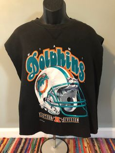 8e40aa363df 1993 Miami Dolphins Cut Off Sweatshirt Vintage Tank Top NFL Football Jersey  Riddell Helmet Logo Ryan Tannehill Dan Marino Salem Sports
