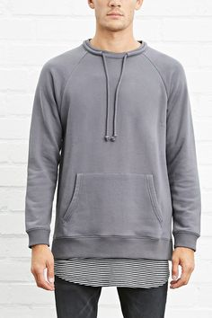 Drawstring Terry Knit Pullover