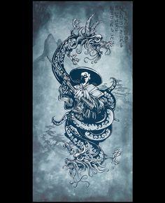 Day of the Dead Artist David Lozeau, In Death, The Demons Sleep, David Lozeau Dia de los Muertos Art - 1 Samurai Art, Samurai Warrior, Skeleton Art, Sugar Skull Art, Lowbrow Art, Painting Process, Military Art, Art Techniques, Dark Art