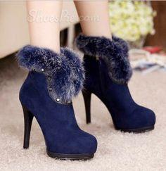 #Fashionable Rabbit Hair #Suede High #Heel #Boots
