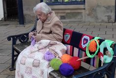 Yarnbombing group of women over age 60, including Grace age 104
