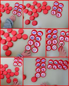 "Juego con tapones : sonido ""G"" Dual Language, Memories, Teaching, Holiday Decor, Cycle 1, Bottle Caps, Montessori, School, Crafts For Children"