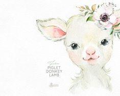 Farm Piglet Donkey Lamb. Watercolor little animals clipart | Etsy