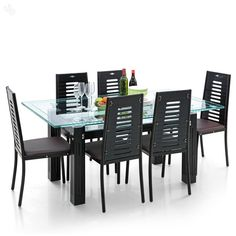 Royal Oak Milan Dining Set With Six Chairs (Brown/Black)   Best Home